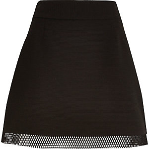 Black mesh hem A-line mini skirt
