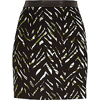 Green zebra print A-line mini skirt