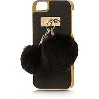 Black snake print pom pom charm iPhone 5 case