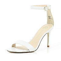 White barely there mid heel sandals