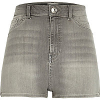 Grey high waisted Nori denim shorts