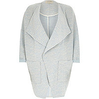 Light blue draped front jersey jacket