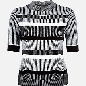 Grey stripe ribbed knit top