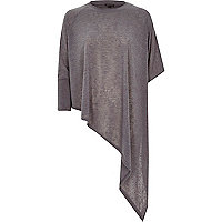 Grey asymmetric hem and sleeve t-shirt