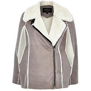 Grey faux-suede zip-up cape