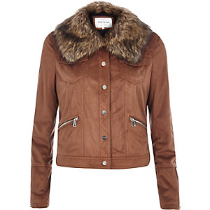 Brown faux-suede faux fur collar jacket