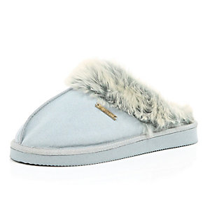 Light grey suede slippers