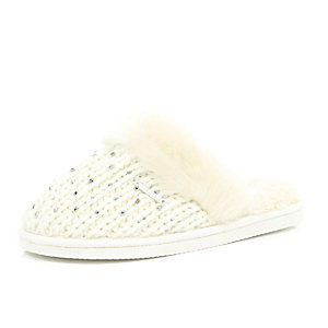 Cream knitted embellished fur trim slippers