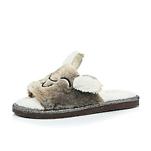 Brown bunny ears faux-fur slippers