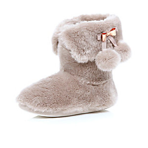 Pink fluffy pom pom boot slippers