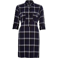 Blue check tie waist shirt dress
