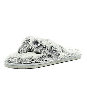 Grey faux-fur diamante slippers