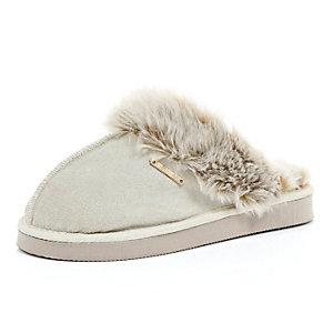 Beige suede slippers