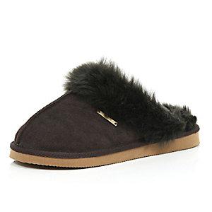 Dark brown suede slippers