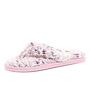 Pink faux-fur diamante slippers