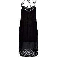 Black embroidered strappy slip dress