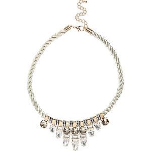 Cream gem cluster rope necklace