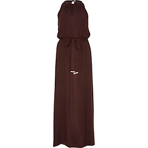 Dark red satin waisted maxi dress