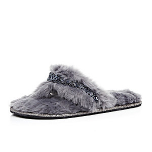 Dark blue faux fur embellished slippers
