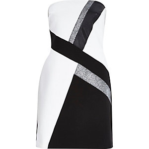 Black jersey bandeau A-line dress