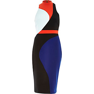 Black colour block bodycon pencil dress