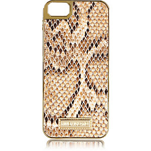 Beige snake print iPhone 5 phone case