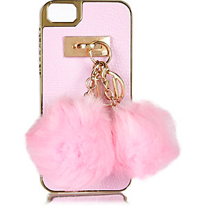 Pink pom pom iPhone 5 phone case