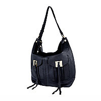 Black leather double pocket tote bag
