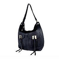 Black leather double pocket tote bag