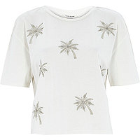 Cream boxy embellished palm tree t-shirt
