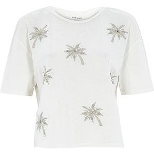 Cream boxy embellished palm tree t-shirt