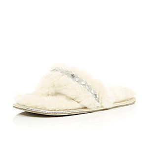 Cream faux-fur embellished slippers