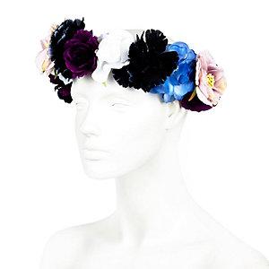 Blue mixed flower hair garland