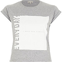 Grey slogan print boxy cropped fitted t-shirt