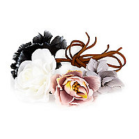 Purple flower bun top hair band