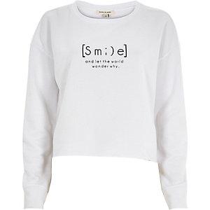 White smile print cut off sweatshirt