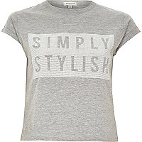 Grey simply stylish fitted crop top