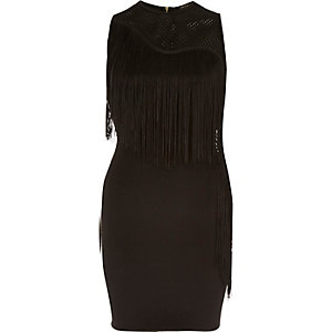 Black jersey mesh fringed bodycon dress