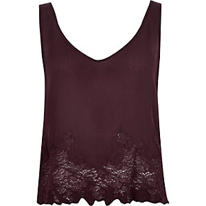 Dark red lace tank top