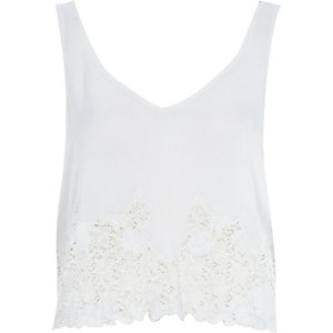 Cream lace V-neck tank top