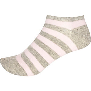 Grey stripe trainer ankle socks