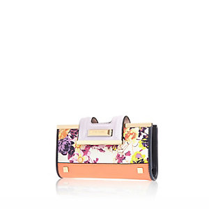 Coral floral print clip top purse