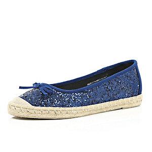 Blue glittery espadrille ballet shoe