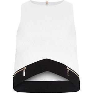 White cropped sleeveless top
