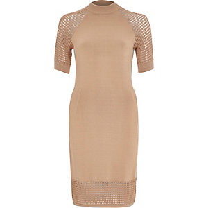 Camel grid mesh knitted dress