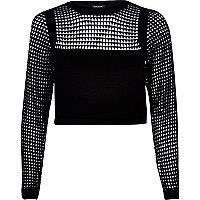 Black grid mesh knitted crop top