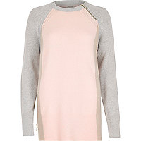 Pink colour block slouchy jumper