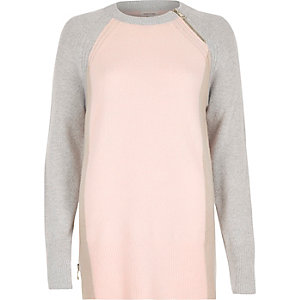 Pink colour block slouchy knitted jumper