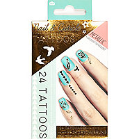 Gold nail and cuticle tattoos