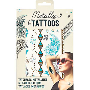 Aqua metallic temporary tattoos